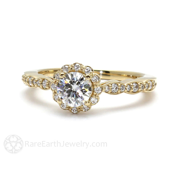 Rare Earth Jewelry Moissanite Ring 14K Yellow Gold Round Cut Forever One Diamond Halo