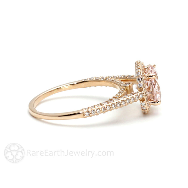 2ct Morganite Anniversary Ring Cathedral Diamond Halo 18K Rose Gold Rare Earth Jewelry