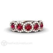 Rare Earth Jewelry Ruby Ring 5 Stone Diamond Halo 14K Rose Gold Setting