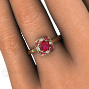 Rare Earth Jewelry Vintage Style Red Ruby Ring with Diamonds on Finger