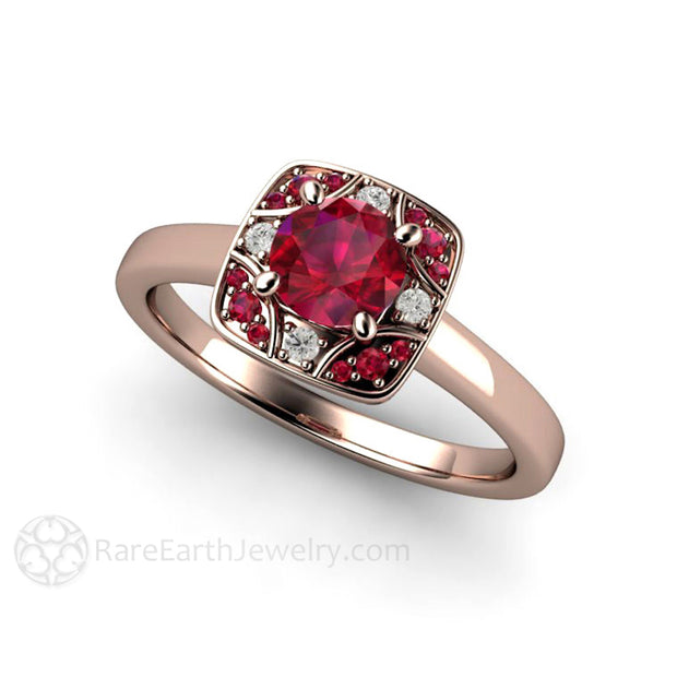 Rare Earth Jewelry Rose Gold Ruby Ring Art Deco Setting with Diamonds