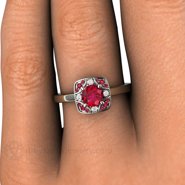 Rare Earth Jewelry Art Deco Inspired Ruby Ring on Hand