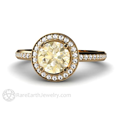 Rare Earth Jewelry Lemon Citrine Ring with Diamond Halo Round Cut 14K Gold