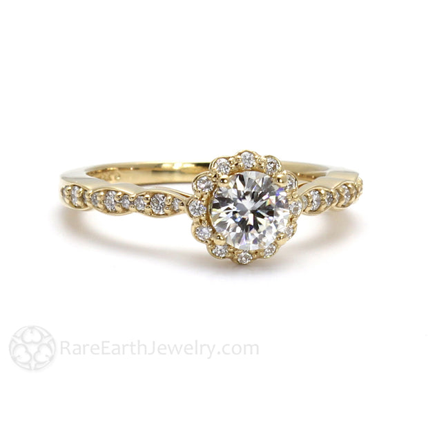 Rare Earth Jewelry Forever One Moissanite Ring Vintage Diamond Halo Round Cut 14K or 18K Gold