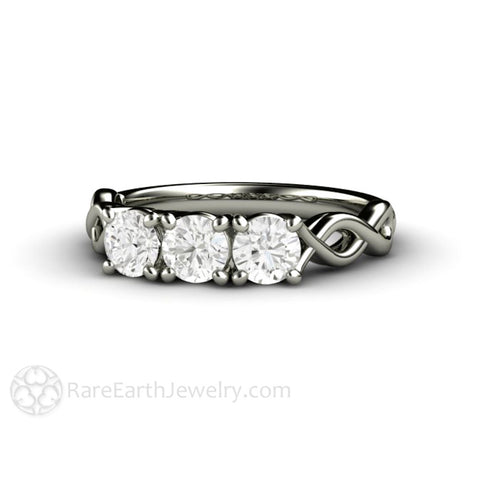 Three Stone Anniversary Band Forever One Moissanite