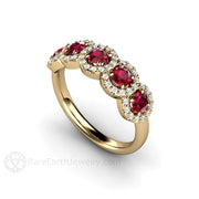 Rare Earth Jewelry Ruby Ring with Diamonds 5 Stone Round Cut Halo 14K or 18K Gold