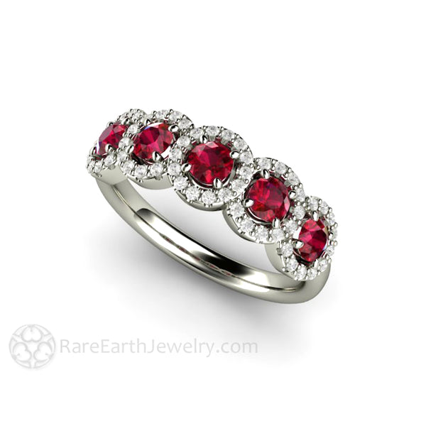 Halo Anniversary Bands: Ruby Band Five Stone Ring With Diamond Halo Round Cut