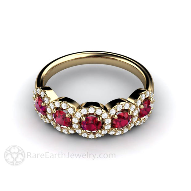 Rare Earth Jewelry Natural Red Ruby and Diamond Halo Band 14K Gold
