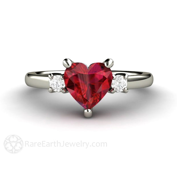 Rare Earth Jewelry Ruby Heart Ring 3 Stone Engagement or Promise 14K or 18K Gold