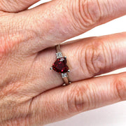 Rare Earth Jewelry Ruby Heart Right Hand Ring on Finger