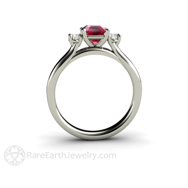 Rare Earth Jewelry 3 Stone Ruby and Diamond Engagement Ring 14K