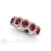 Rare Earth Jewelry 18K Rose Gold Ruby Ring with 5 Diamond Halos Round Cut