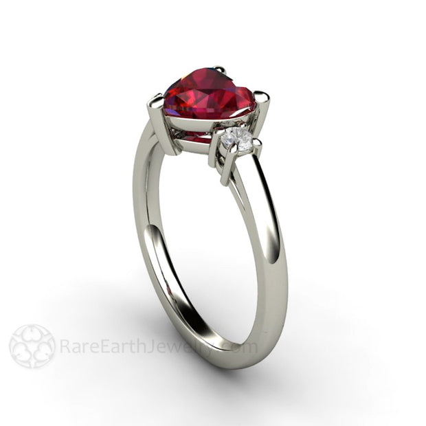 Rare Earth Jewelry Ruby Heart Promise Ring Diamond Side Accents