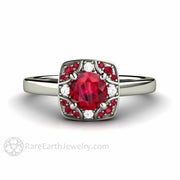 Rare Earth Jewelry 14K Round Cut Ruby Ring July Birthstone or Anniversary Vintage Style