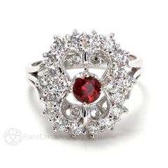 Vintage Style Ruby Ring with Diamonds Filigree Details Rare Earth Jewelry
