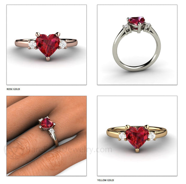 Rare Earth Jewelry Ruby Birthstone Ring with Diamond Accents Heart Shaped