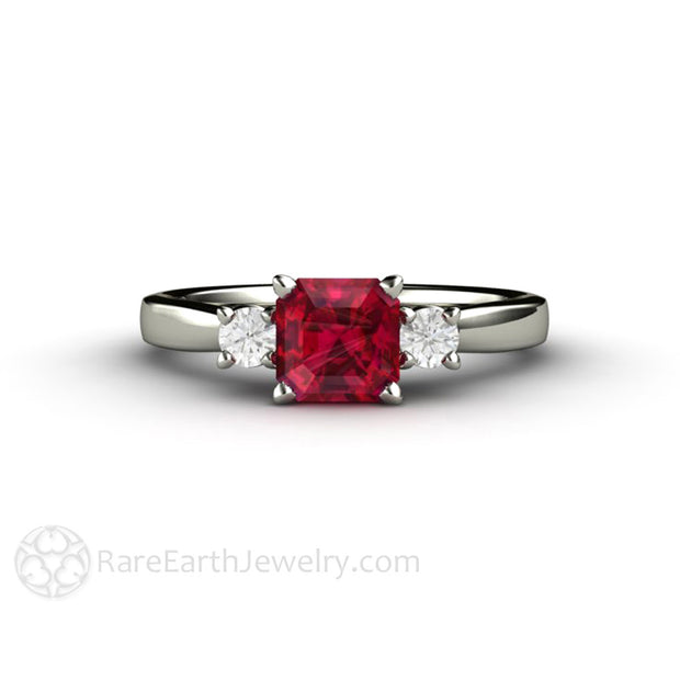 Rare Earth Jewelry Ruby Ring with Diamonds Asscher Cut Red Gemstone 14K or 18K Gold