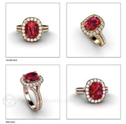 Rare Earth Jewelry July Birthstone Ring Ruby and Diamond