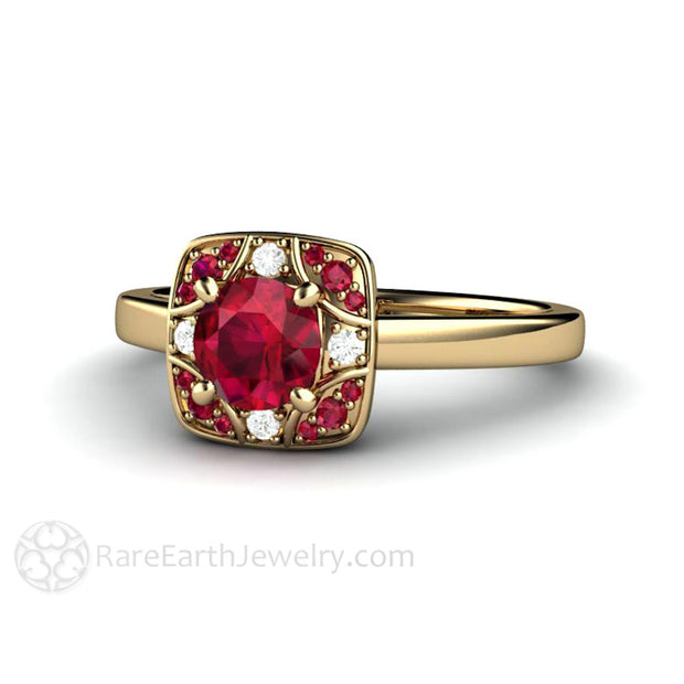 Rare Earth Jewelry Ruby Ring with Diamonds Art Deco Design 14K Setting