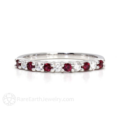 Rare Earth Jewelry Ruby and Diamond Ring Anniversary Band July Birthstone