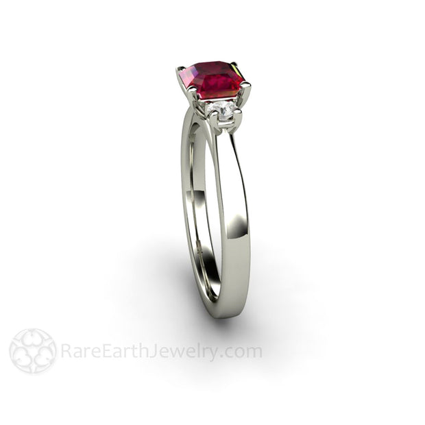 Rare Earth Jewelry Asscher Ruby Ring July Birthstone or Anniversary 14K