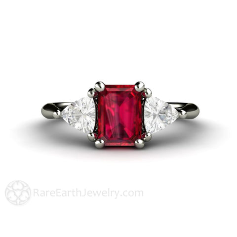 3 Stone Ruby Engagement Ring Emerald Cut with White Sapphire Trillions