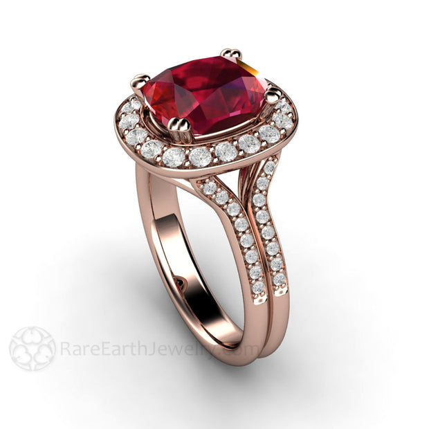 Ruby July Birthstone or Anniversary Ring Splt Shank Rose Gold Setting Rare Earth Jewelry