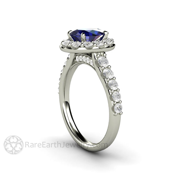 Rare Earth Jewelry Sapphire Engagement Ring Pave Diamond Halo 14K White Gold