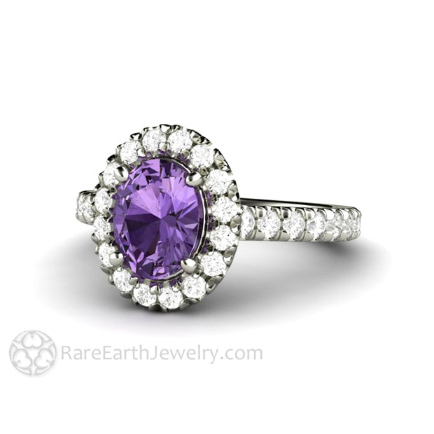 Rare Earth Jewelry Sapphire Engagement Ring French Pave White Gold Setting Purple Sapphire with Diamonds