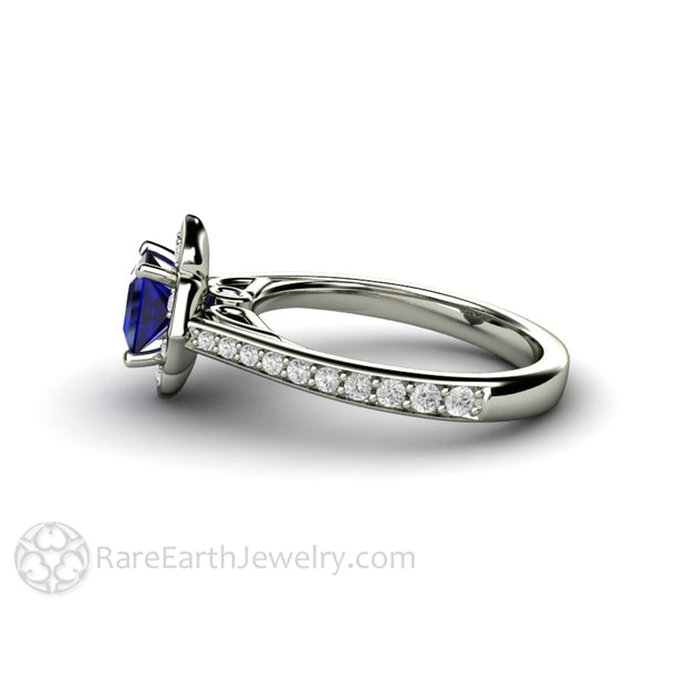 Princess Sapphire Halo Engagement Ring 14K White Gold by Rare Earth Jewelry