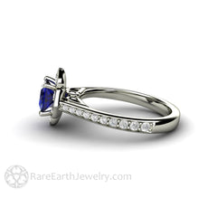 Rare Earth Jewelry Sapphire Engagement Ring Princess Cut Halo 14K White Gold Vintage Art Deco Design