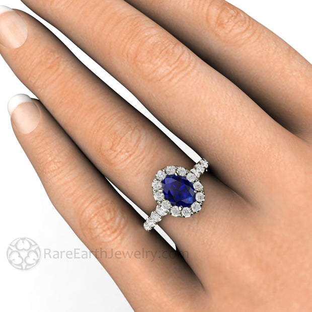 Rare Earth Jewelry Sapphire Engagement Ring on Finger Oval Cut Wedding or Bridal Halo Ring 14K Gold