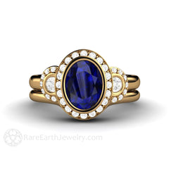 Rare Earth Jewelry Sapphire Halo Wedding Set Oval 3 Stone Engagement 18K Gold