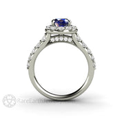 Rare Earth Jewelry Sapphire Ring with Diamond Halo Oval Cut September Birthstone