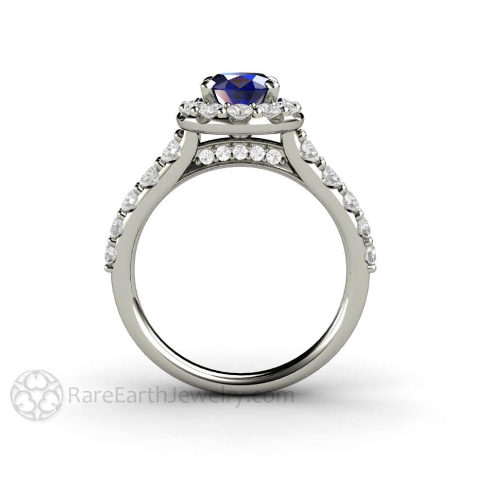 gemstone engagement pear o multi wedding stone rings halo blue prong majesty ring sapphire with round bijoux cut