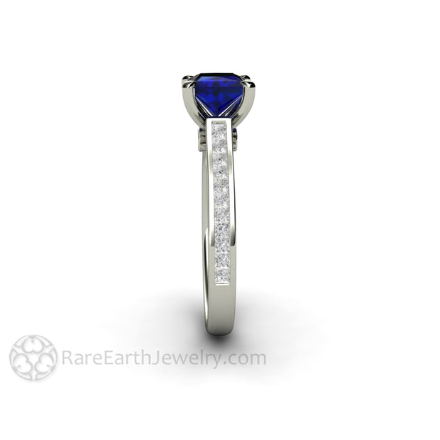 Rare Earth Jewelry Sapphire Solitaire Bridal Ring Conflict Free Diamond Accent Stones Cathedral Setting