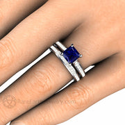 Rare Earth Jewelry Sapphire Wedding Ring Set Princess Cut on Finger Diamond Accented Bridal Band