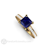 Rare Earth Jewelry Sapphire Wedding Ring with Diamonds 18K Yellow Gold Cathedral Setting