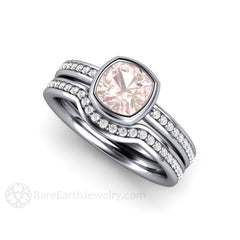 Platinum Pink Sapphire Solitaire Bridal Set Cushion Cut Rare Earth Jewelry