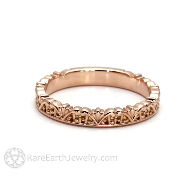 Rare Earth Jewelry Solid 14K Rose Gold Stacking Ring Stackable Wedding Band