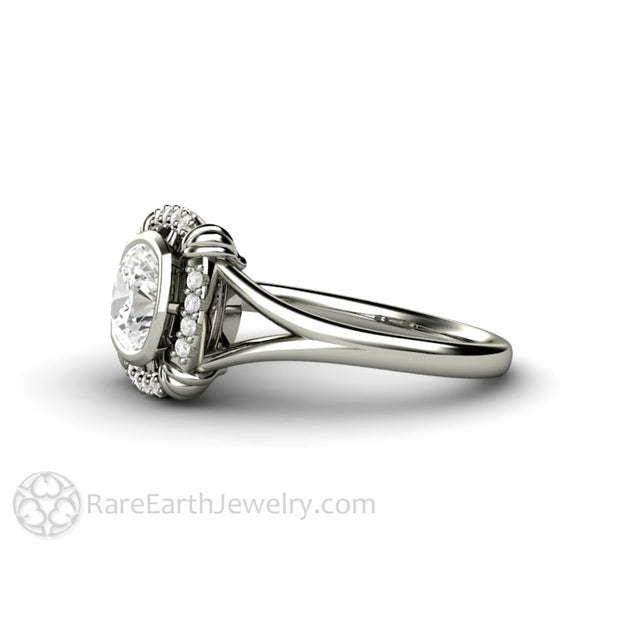 Rare Earth Jewelry Forever One Square Cushion Moissanite Ring Diamond Halo Accent Stones 14K Gold Split Shank