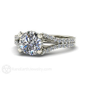 Rare Earth Jewelry Moissanite Engagement Ring Pave Diamond Split Shank Round Cut Forever One 14K