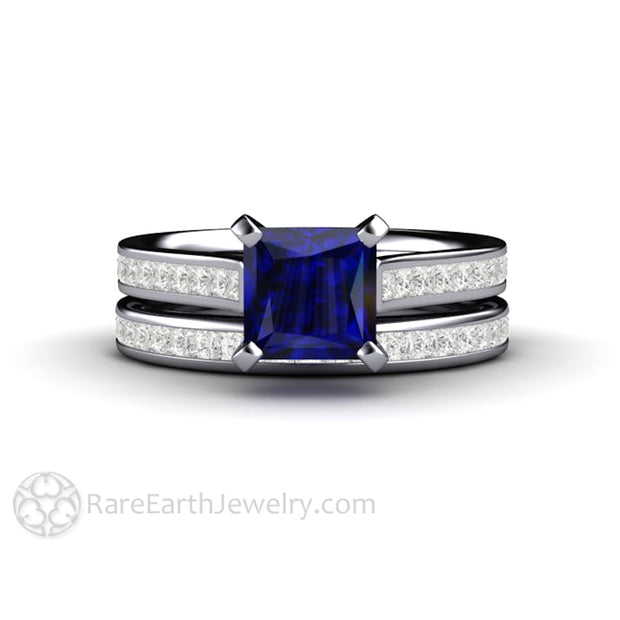Rare Earth Jewelry Square Cut Princess Blue Sapphire Wedding Ring Set Diamond Accented Band 14K or 18K