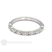 Rare Earth Jewelry Stackable Anniversary Band with Baguette Diamond Accent Stones