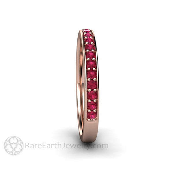 Rare Earth Jewelry Stackable Ruby Ring 14K Rose Gold Round Cut Stones