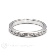Rare Earth Jewelry Stacking Anniversary Band 14K White Gold with Milgrain and Filigree