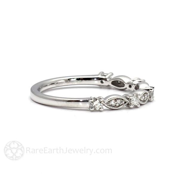 Rare Earth Jewelry Stacking Diamond Ring Anniversary or April Birthstone 14K White Gold