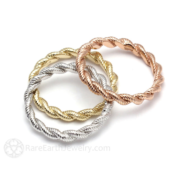 Rare Earth Jewelry Stackable Band Twisted Gold Rope Style Ring