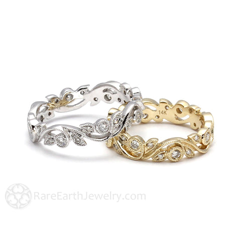 Diamond Eternity Band or Wedding Ring with Leaf and Milgrain Pattern