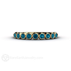 Rare Earth Jewelry Unique April Birthstone Ring Teal Blue Diamond Bezel Setting 14K Gold Band